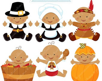Thanksgiving Baby V2 Cute Digital Clipart - Commercial Use OK - Thanksgiving Graphics, Baby Thanksgiving, Autumn Baby Clipart