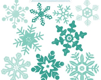 Blue Snowflakes Cute Digital Clipart - Commercial Use OK - Christmas Graphics - Christmas Clipart - Snow, Snowflake Clipart