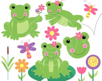 Spring Frogs Cute Digital Clipart for Card Design, Scrapbooking, and Web Design, cute Frog Clipart