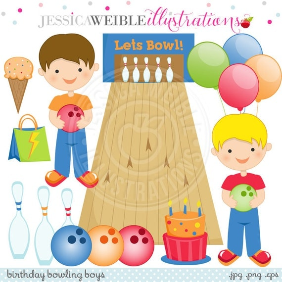 Birthday Bowling Boys Cute Digital Clipart for Card Design, Scrapbooking, and Web Design