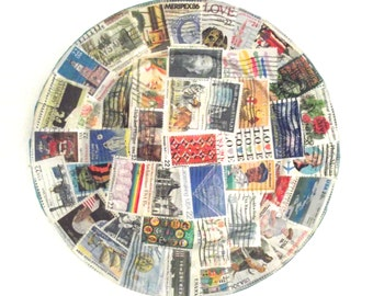 Sale 50% Off Vintage Postage Stamp Collage Decorative Dish or Plate