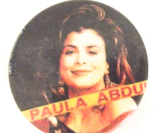 Vintage 1990 Paula Abdul Button, Badge, Pin