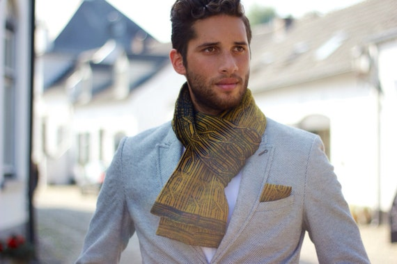Knitted cotton men scarf ELEMENTS - Wood.
