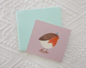 CLEARANCE SALE!!! Bird with blue beanie - Original mini drawing