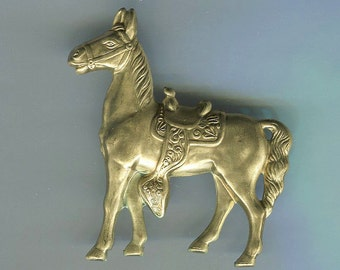 2 Horse with Saddle Brass Metal Stampings