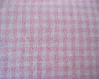 Pink, Gingham, Check, Cotton Flannel Fabric, Baby Girl