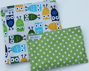 Reusable Sandwich and Snack Bag Set Eco Friendly Owls and Green Polka Dots