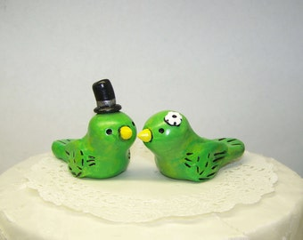 Green Love Bird Wedding Cake Topper Birds - Fully Custom Made Your Way - Shown in Antique Green/Yellow, Yellow, Black and White/Ivory