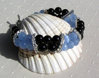"Black Onyx & Blue Cats Eye Crystal Gemstone Bracelet ""Mystique"", Blue Bracelet, Black Bracelet, Chakra Bracelet, Leo Bracelet, Beaded"