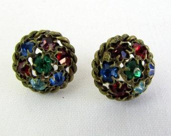 Vintage 1930s Multi Colored Rhinestone Earrings Czechoslov