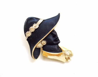 black and gold lady head pin woman face with big hat  pin brooch with gold accents