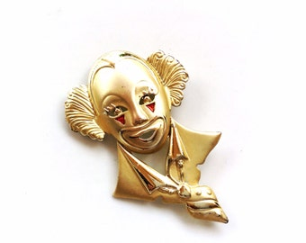 vintage clown brooch gold tone clown large clown pin