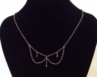 Peter Pan collar vintage necklace with dangling  beads