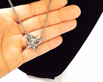 vintage little butterfly necklace pewter medal 1969 jewelry signed NHB pewter