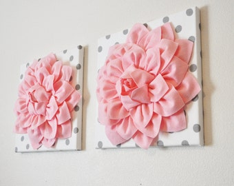 3D Wall Art - Picture Canvas - TWO Wall Decor - Baby Pink Dahlia on White and Gray Polka Dot 12 x12 - Canvas Wall Art - Baby Nursery Decor