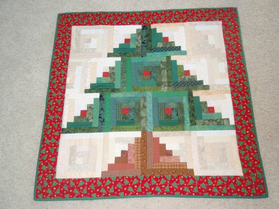 Items similar to log cabin christmas tree quilted wall