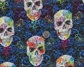 Sugar Skulls Calaveras Day of the Dead Flourish Folklorico I Spy Skull Fabric By the Fat Quarter BTFQ