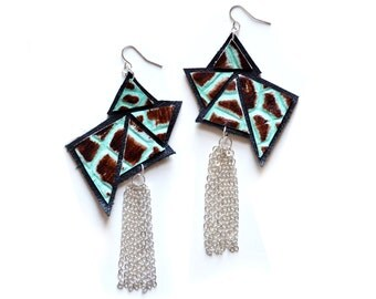 Triangle Geometric Earrings, Silver and Mint Dangle Earrings, Leather Tassel Jewelry