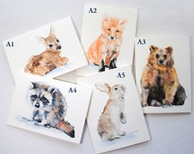 Watercolor Woodland Animal Cards - Mix and Match - Set of 6