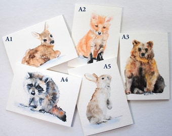 Watercolor Woodland Animal Cards - Set of 7 - Mix and Match