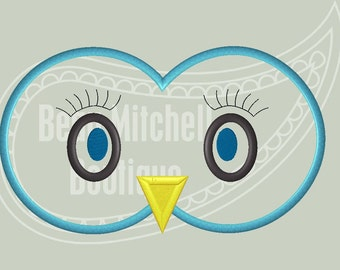 Owl Eyes Applique embroidery Design 4x4, 5x7, 6x10 & 9X9