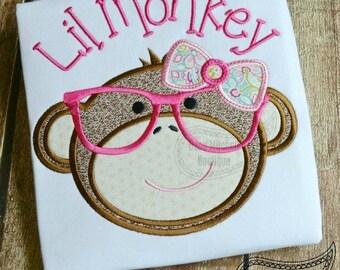 Nerdy Monkey Girl applique embroidery design