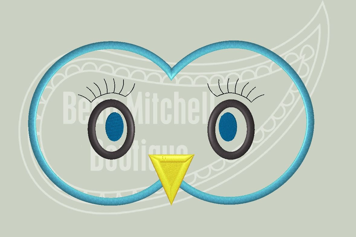 Owl eyes applique embroidery design
