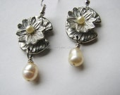 Pearl earrings dangle | small | sterling silver | water lily