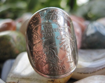 Wraparound South Carolina Quarter Ring with Sterling Silver Band MADE TO ORDER.