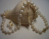 Pearl necklace and earring set, natural pearls, handknotted, 14k gold plated, white pearls, gold plated pearl earrings, Akoya pearl necklace