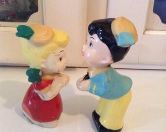 Kissing Boy & Girl Plastic Figures Made in Hong Kong
