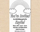 Birthday Invitations -- Color Your Own - Rainbow (Digital File)
