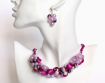 Red-Violet and Mauve Flower Cluster Necklace and Earrings Set