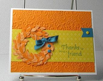 Thank You Card Handmade Thanks for Being a Friend Appreciate You Pumpkin Wreath