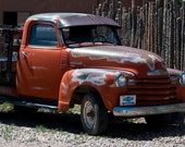 Old Orange Chevy Truck - Vintage 1953 Chevy Pickup - Antique Tangerine Pickup - Rusted Orange City Truck - Fine Art Giclee Photograph 8x12