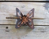 Leather Butterfly Barrette with Dogwood