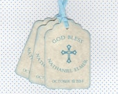 20 Religious Baby Boy Baptism Favor Tags / Communion Favor Tags / Christening Tags / Cross Design / Baby Boy Blue Tag / Vintage Style