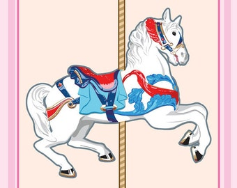 "Baby Nursery Carousel Horse Prints 8"" by 10"""