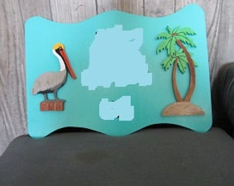 Handmade custom painted wooden Tropical Welcome House Sign
