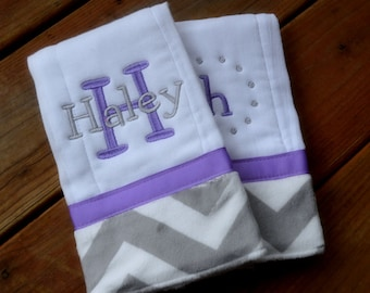 Personalized Burp cloth set prefold diaper- purple with grey and white chevron print- set of two