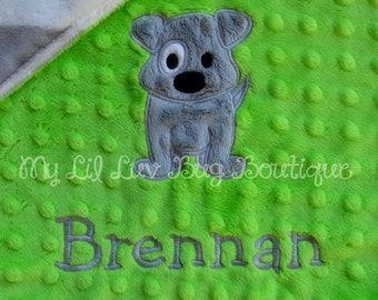 Personalized baby blanket minky- lime green and grey chevron print - lovey blanket