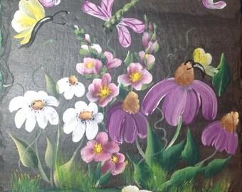Hand painted Slate Welcome Sign DRAGON FLY, Purple Coneflower, Daisies, Hollyhocks garden slate