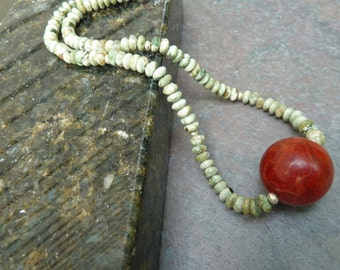Red Coral Necklace, Rhyolite Necklace, Red Sponge Coral, Artisan Necklace, Green Necklace, Sterling Silver Clasp, Gift For Her