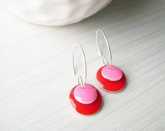 Red Enamel Earrings - Silver Hoops, Pink, Colorful Jewelry, Drop, Silver, Modern, Simple, Jewelry, Jewellery
