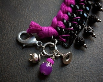 Gothic Black Multi Chain Bracelet with Purple Braiding and Witchy Charms