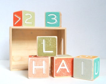 Alphabet Wood Building Blocks - Pastel Wood Blocks - Personalized set of 6 , Wooden Blocks, Nursery, Baby's Room, Customize, Learning blocks