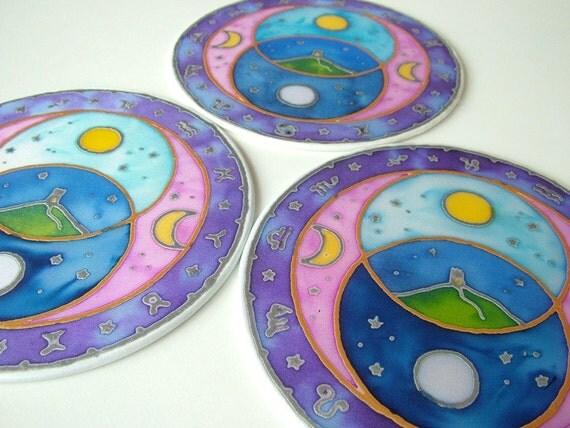 Suncatcher Silk Window Picture Vesica Pisces Glastonbury Tor Avalon Astrological Wheel
