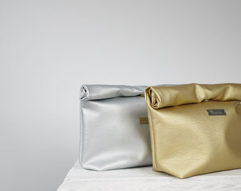 Vegan Leather Lunch Bag, Silver or Gold Lunch Tote