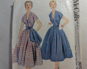 1954 Party Dress, Pleated Full Circle Skirt, Crinoline Skirt, Fit & Flare- Vintage 50s McCall's Sewing Pattern 3070- Size 12 Bust 30 CUT