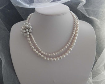 White Swarovski Pearl Necklace, Flower Brooch Necklace, Wedding Party Necklace #N4202
